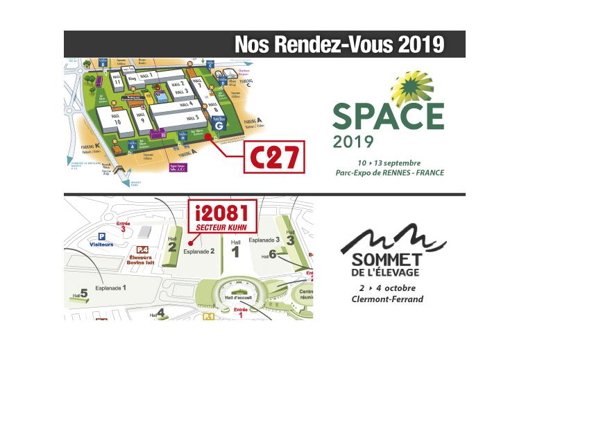 retrouvez nous aux salons 2019 - Space et Sommet de l'Elevage